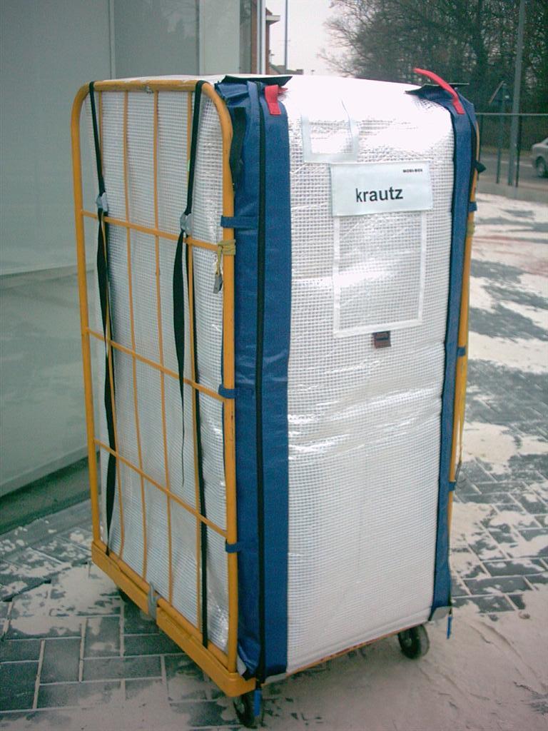 Krautz Temax Mobi-Box thermocontainer geïsoleerde rolcontainer tranbsport koel vers diepvries supermarkt